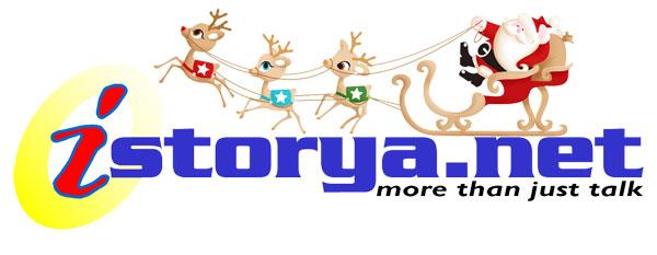iSTORYA.NET's Christmas Logo with Santa Clause on his Sleigh and Reindeers